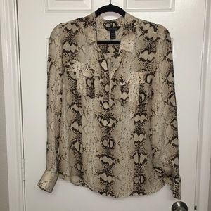 White House | Black Market Silk Snake Skin Blouse